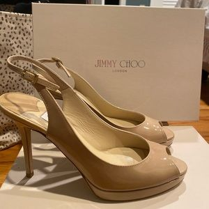 Jimmy Choo patent leather nude pumps!